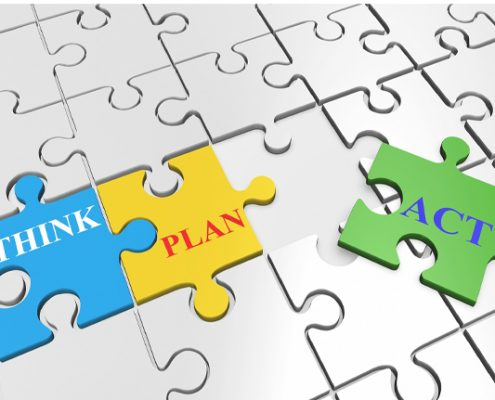 Jigsaw pieces saying think, plan, act