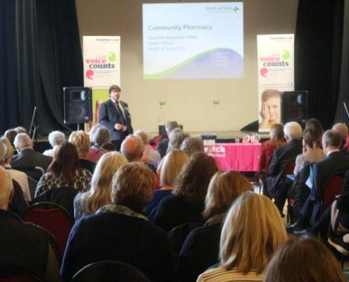 Stephen Blackman presenting at Healthwatch Northumberland AGM 2018