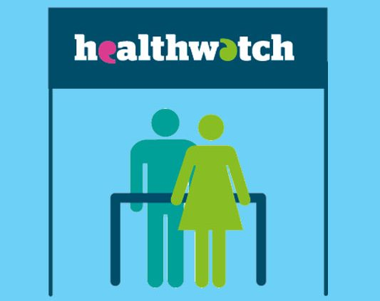 Healthwatch graphic with two people