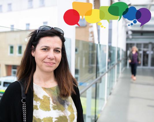 Woman outside a hospital