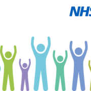 stick figures and NHS logo
